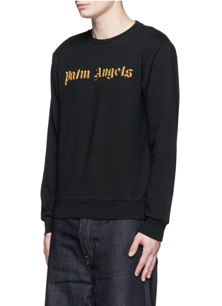 Front View - Click To Enlarge - Palm Angels - Metallic logo embroidery sweatshirt