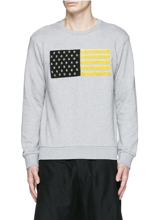 Main View - Click To Enlarge - Palm Angels - Metallic flag embroidery sweatshirt