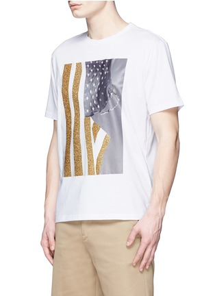 Front View - Click To Enlarge - Palm Angels - Glitter flag print T-shirt