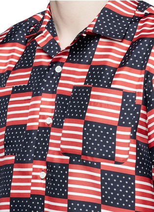 Detail View - Click To Enlarge - Palm Angels - USA flag print silk shirt