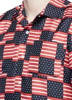 USA flag print silk shirt