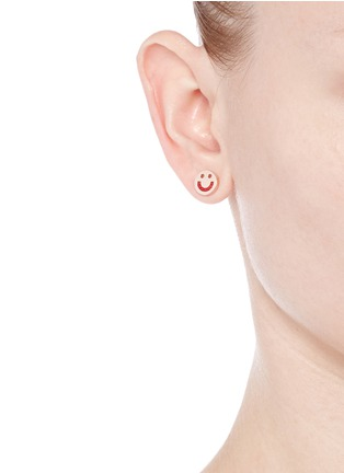 Figure View - Click To Enlarge - Ruifier - 'Happy' 18k rose gold cord stud earrings