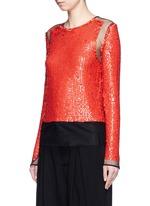 Sequin embellished mesh top