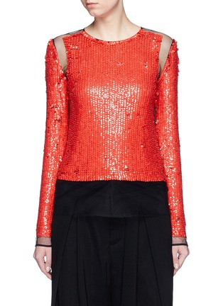 Main View - Click To Enlarge - Emilio Pucci - Sequin embellished mesh top