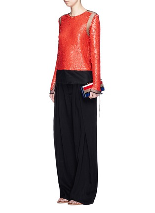 Figure View - Click To Enlarge - Emilio Pucci - Sequin embellished mesh top