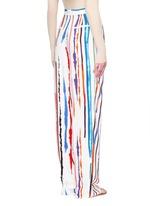 Watercolour stripe print crepe pants