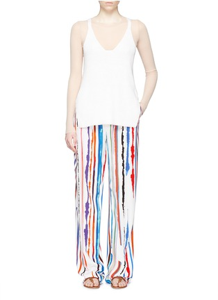 Figure View - Click To Enlarge - Emilio Pucci - Watercolour stripe print crepe pants