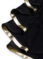 Metallic stripe drape front chiffon gown