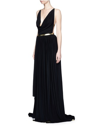 Front View - Click To Enlarge - Alaïa - Metallic stripe drape front chiffon gown