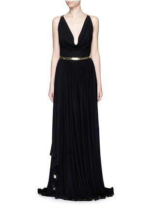 Main View - Click To Enlarge - Alaïa - Metallic stripe drape front chiffon gown