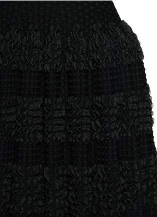 Detail View - Click To Enlarge - Alaïa - 'Marquises' tiered ruffle trim dot jacquard dress