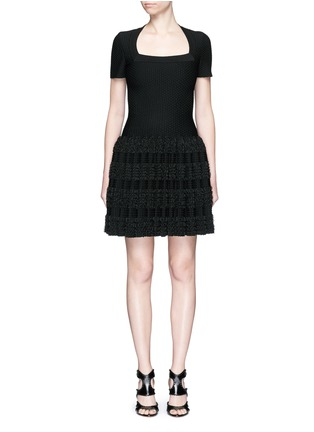 Main View - Click To Enlarge - Alaïa - 'Marquises' tiered ruffle trim dot jacquard dress