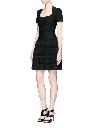 Alaïa-'Marquises' tiered ruffle trim dot jacquard dress