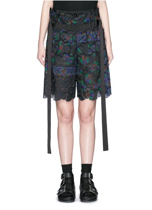 Sacai - Botanical print embroidery lace culotte shorts