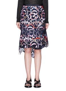 SACAIBotanical print embroidery lace asymmetric skirt
