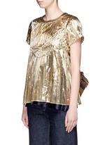 Ruffle back accordion pleat metallic T-shirt