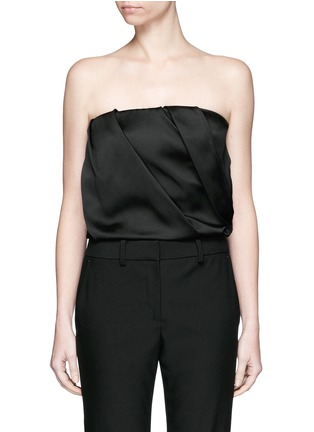 Detail View - Click To Enlarge - The Row - 'Amilli' balloon sleeve silk off-shoulder top