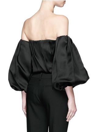 Back View - Click To Enlarge - The Row - 'Amilli' balloon sleeve silk off-shoulder top