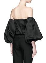 'Amilli' balloon sleeve silk off-shoulder top