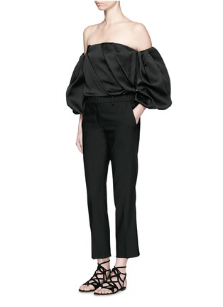Figure View - Click To Enlarge - The Row - 'Amilli' balloon sleeve silk off-shoulder top