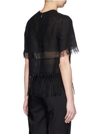 Back View - Click To Enlarge - MSGM - Fringe stripe linen T-shirt
