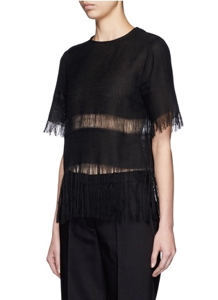 Front View - Click To Enlarge - MSGM - Fringe stripe linen T-shirt