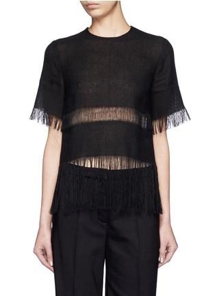 Main View - Click To Enlarge - MSGM - Fringe stripe linen T-shirt