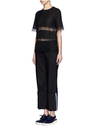 Figure View - Click To Enlarge - MSGM - Fringe stripe linen T-shirt