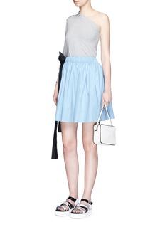 MSGMSash tie elastic waist flare skirt