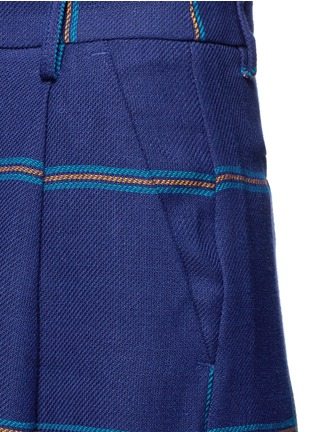 Detail View - Click To Enlarge - MSGM - Fringe stripe wide leg linen pants