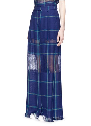 Front View - Click To Enlarge - MSGM - Fringe stripe wide leg linen pants