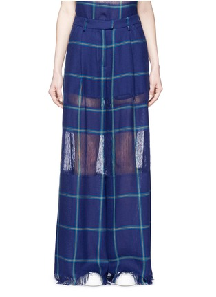 Main View - Click To Enlarge - MSGM - Fringe stripe wide leg linen pants