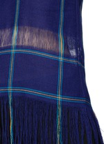 Check plaid fringe linen tank top