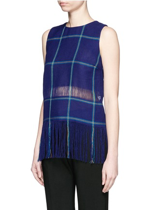 Front View - Click To Enlarge - MSGM - Check plaid fringe linen tank top