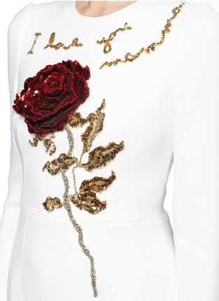 Detail View - Click To Enlarge - Dolce & Gabbana - 'I Love You Mamma' rose sequin appliqué virgin wool dress