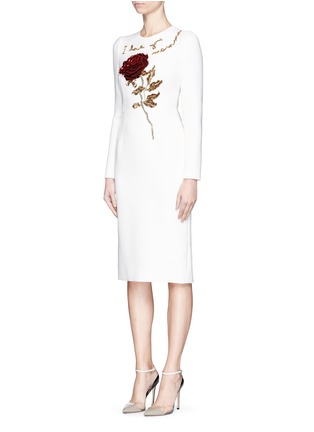 Front View - Click To Enlarge - Dolce & Gabbana - 'I Love You Mamma' rose sequin appliqué virgin wool dress