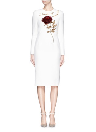 Main View - Click To Enlarge - Dolce & Gabbana - 'I Love You Mamma' rose sequin appliqué virgin wool dress