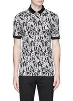Floral garland print polo shirt