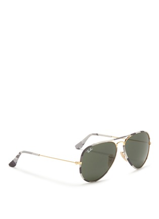 Figure View - Click To Enlarge - Ray-Ban - 'Aviator Camouflage' fabric rim wire sunglasses