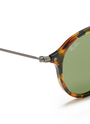 Detail View - Click To Enlarge - Ray-Ban - Tortoiseshell acetate wire temple round frame sunglasses