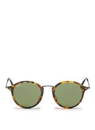 Main View - Click To Enlarge - Ray-Ban - Tortoiseshell acetate wire temple round frame sunglasses