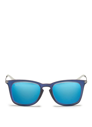 Main View - Click To Enlarge - Ray-Ban - 'RB4221' rubberised frame wire temple mirror sunglasses