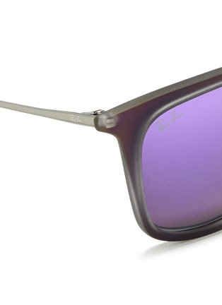 Detail View - Click To Enlarge - Ray-Ban - 'RB4221' rubberised frame wire temple mirror sunglasses