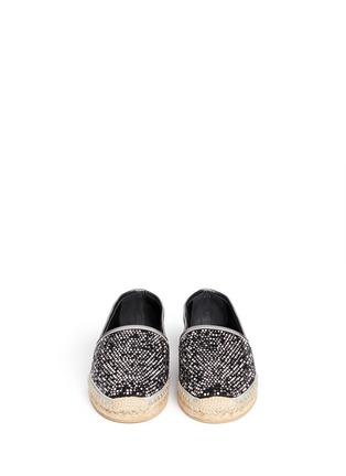 模特儿示范图 - 点击放大 - RENÉ CAOVILLA - WENDY闪粉麂皮草编便鞋