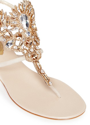 Detail View - Click To Enlarge - René Caovilla - 'Mumbai' floral strass suede sandals