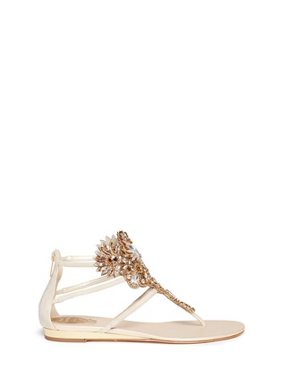 Main View - Click To Enlarge - René Caovilla - 'Mumbai' floral strass suede sandals