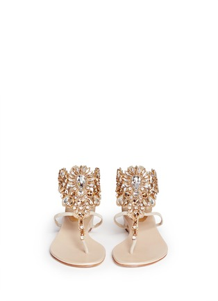 Figure View - Click To Enlarge - René Caovilla - 'Mumbai' floral strass suede sandals