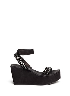 PEDRO GARCÍA 'Desire' crystal stud brushed suede wedge sandals