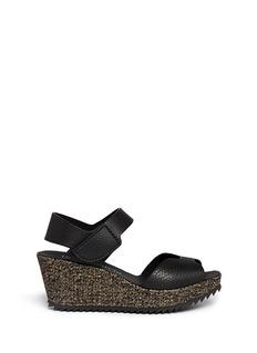 PEDRO GARCÍA'Fama' burlap wedge leather sandals