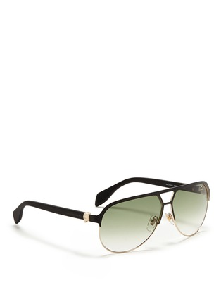 模特儿示范图 - 点击放大 - ALEXANDER MCQUEEN - Flat brow bar wire aviator sunglasses
